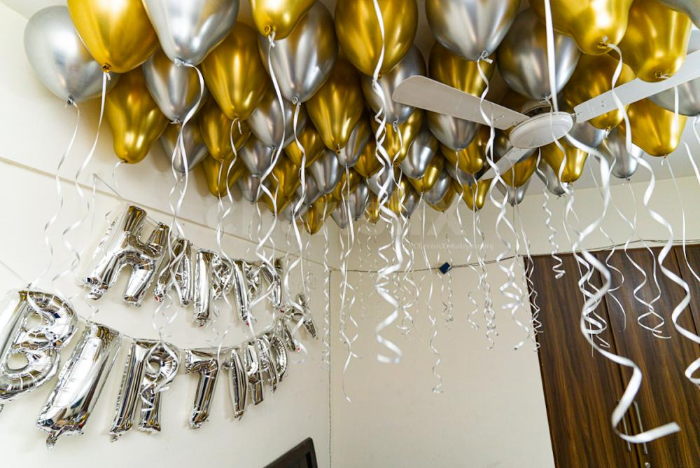 Golden and silver chrome balloon decoration by Cherishx in delhi ncr