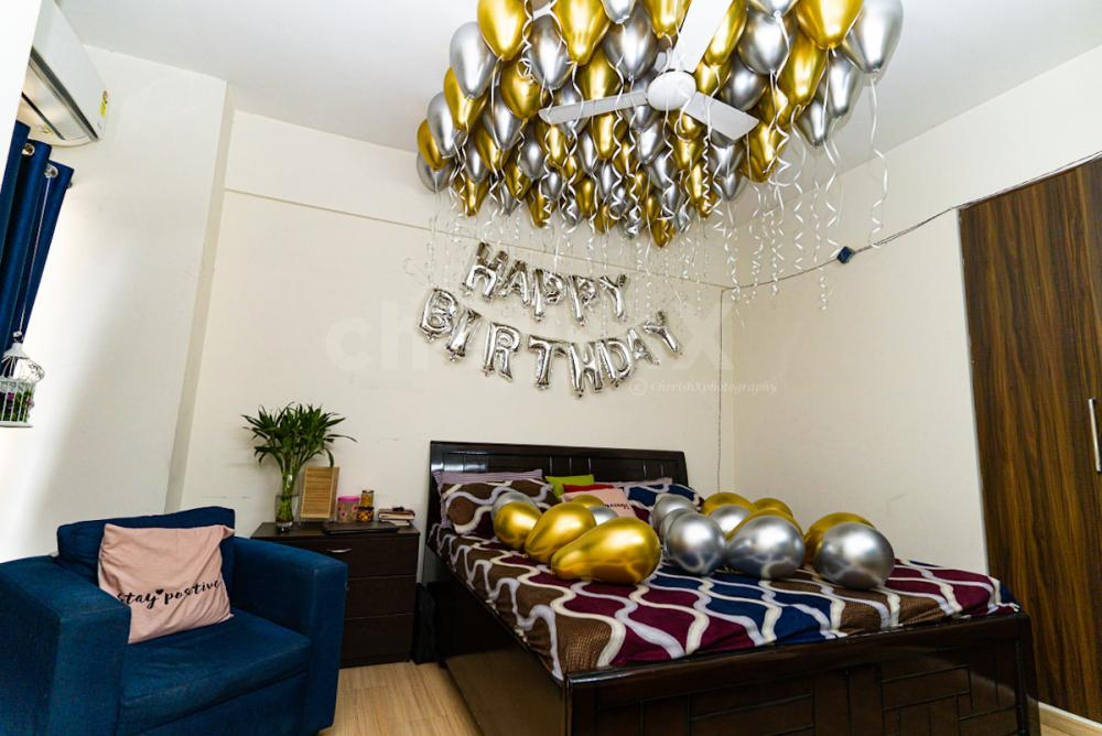 Golden and silver chrome balloon decoration by Cherishx