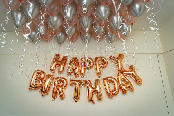 Rosegold and silver chrome balloon decoration by cherishx
