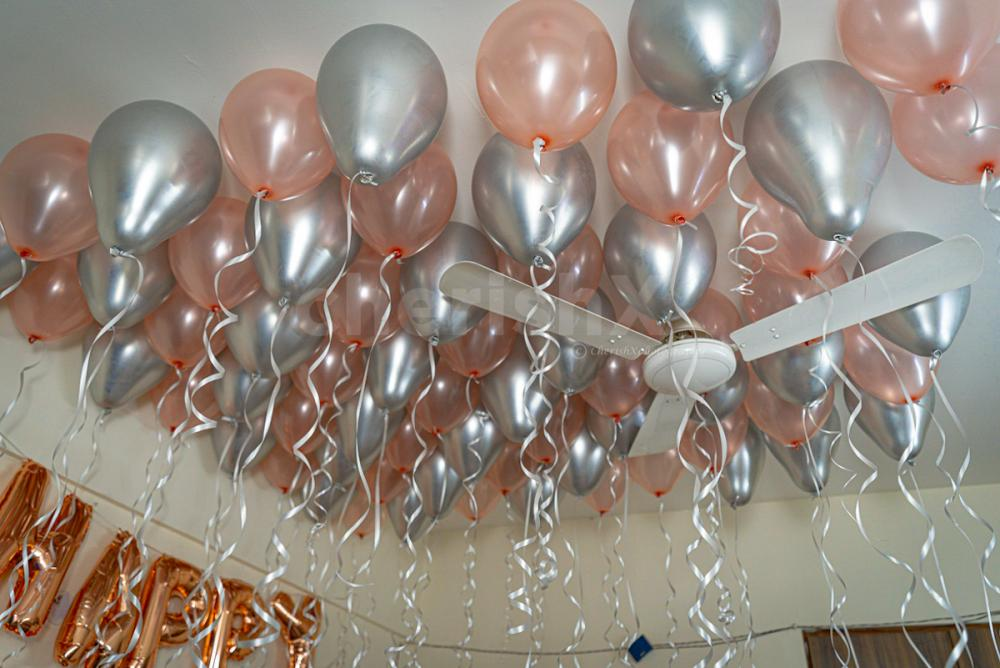 Rosegold and silver chrome balloon decoration by cherishx with Happy Birthday foil balloons