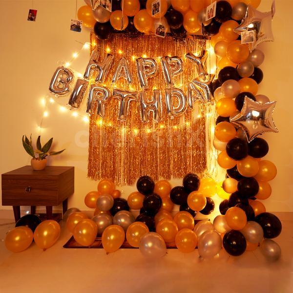 Glorious Black and Golden Birthday decor