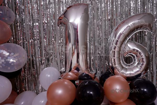 Silver Digit foil Balloons for the age in the Romantic Rosegold Birthday Theme decor.