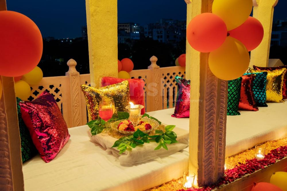 Dinner with decorations on the rooftop