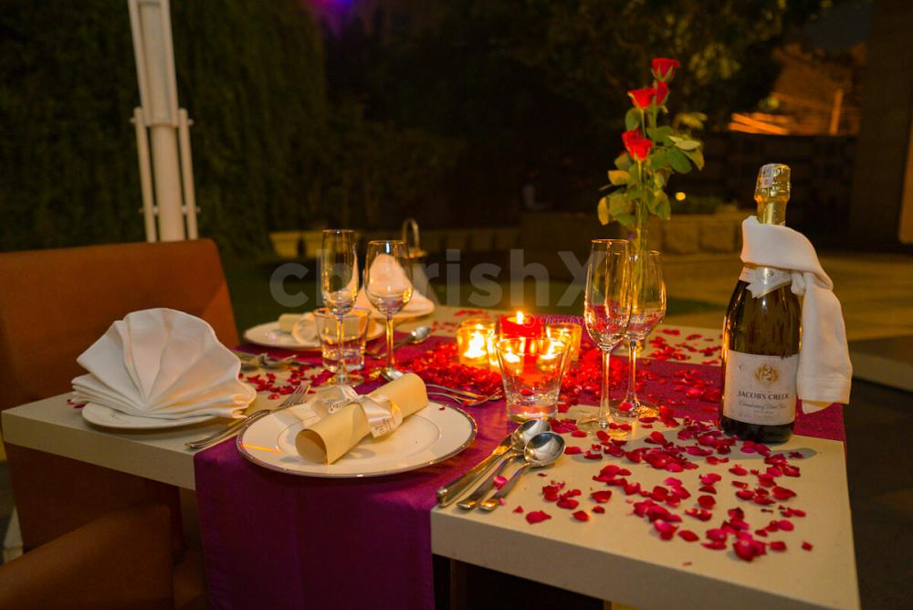 Beautifully decorated candlelight dinner with sumptuous food at Taj arrange specially for your celebrations like anniversaries, birthdays