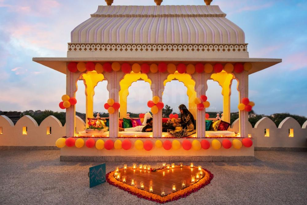 Proposal setup at Sarang Palace Jaipur by CherishX followed by a candlelight dinner
