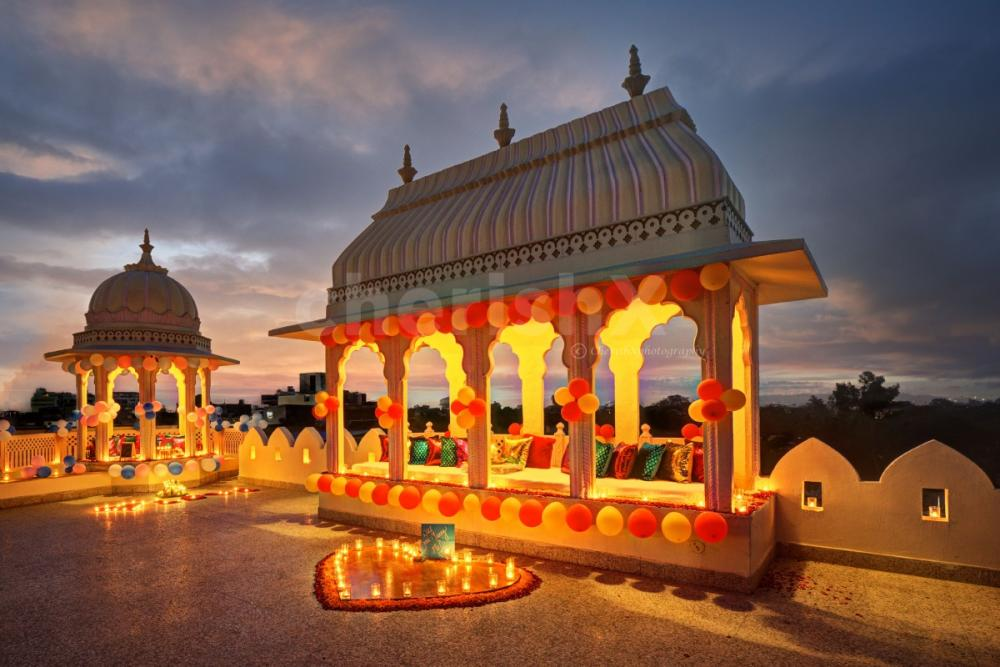 Proposal setup at Sarang Palace Jaipur by CherishX followed by a rooftop candlelight dinner