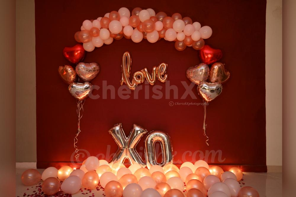 Rosegold Balloon Decoration for Birthday or Anniversary