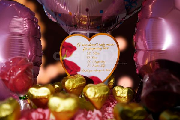 Wish your partner with chocolates and flowers by booking this cute Pink Colored Rose Day Bucket!