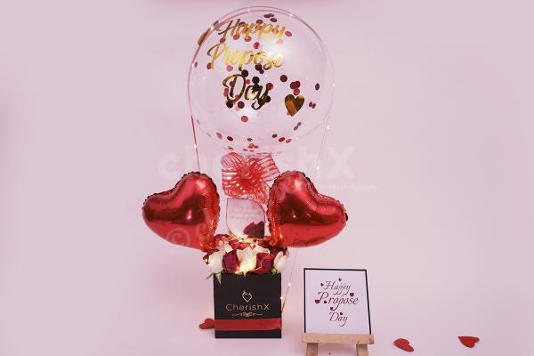 Confess your Love with delightful Bubble Balloon Propose Day Bucket!