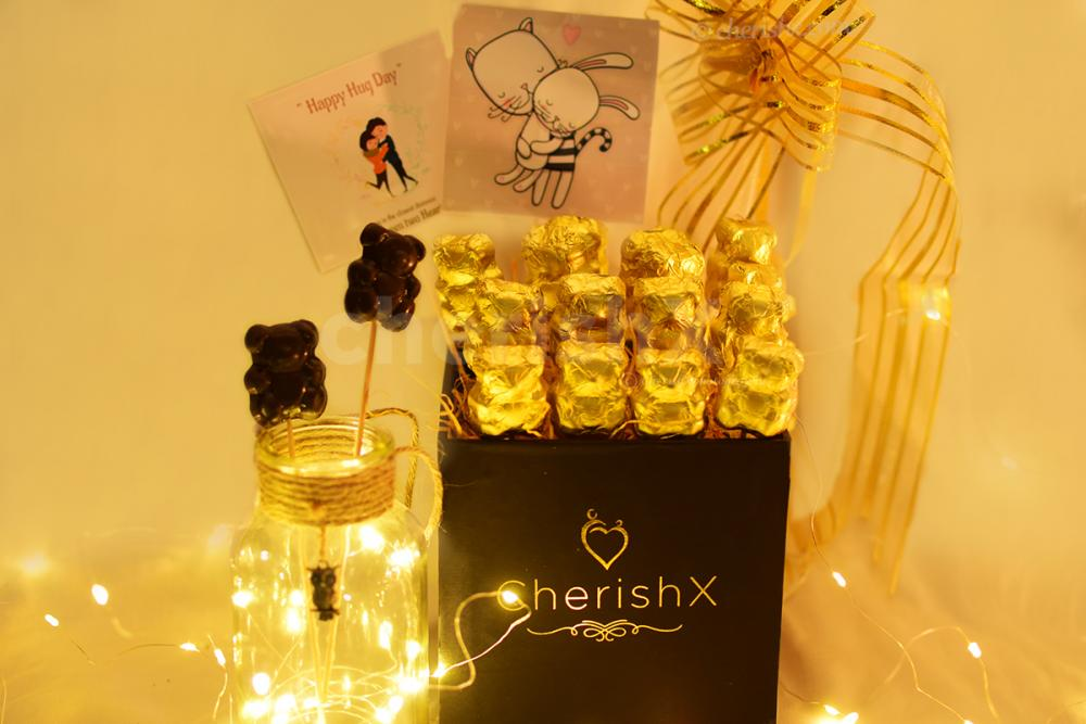 Warm your partner's heart with a loving Hug Day Bucket brought to you by CherishX!