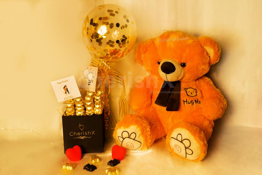 Make your Valentine's Week beautiful by boking a Teddy With Balloon Bucket with CherishX!