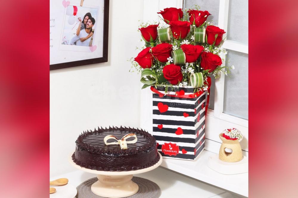 Truffle Cake Rose Combo