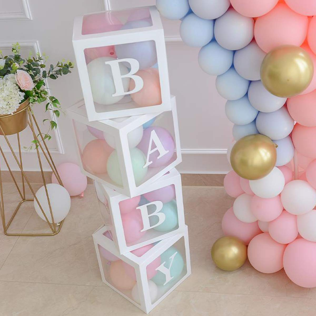 Add 4 Pcs Baby Written Balloon Box for Baby Shower Decoration