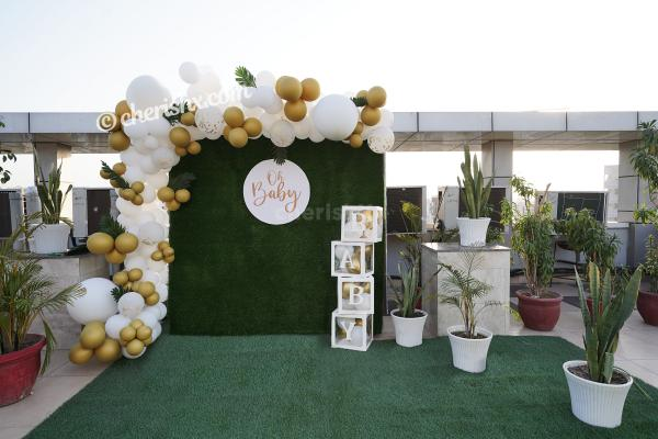 Throw a lovely baby shower for your close one with CherishX's Golden and White Baby Shower Decor!