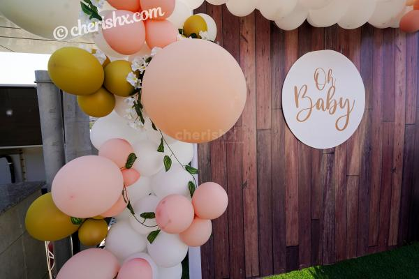 Make the day special for the 'Mother to be' by booking a wonderful Peach Colored Baby Shower Decor by CherishX!