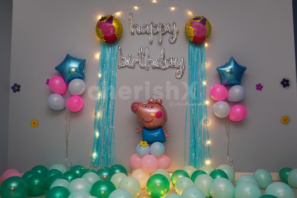 Surprise your child with an awesome CherishX's Peppa Pig Surprise Birthday Decoration!