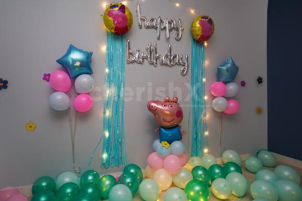 Book CherishX's Peppa Pig Surprise Birthday Decoration to make your kid's birthday special!