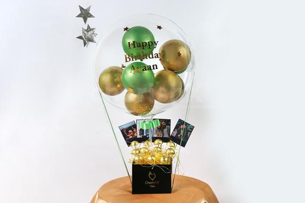 Gold And Green Balloon Bucket with Chocolates