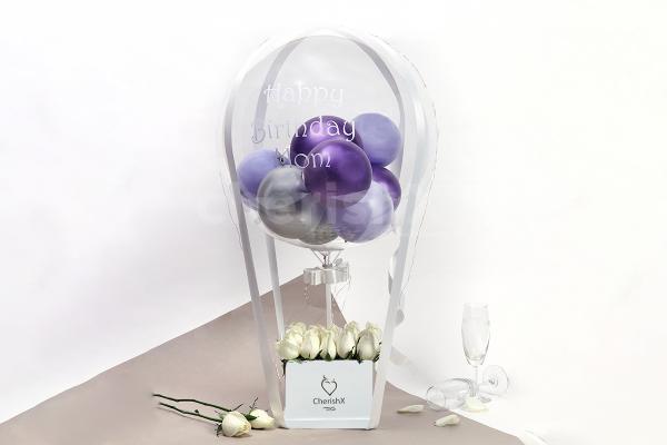 Purple Balloon And Rose Bucket
