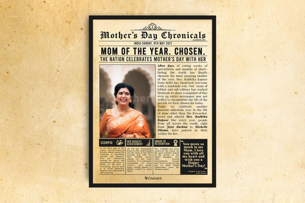 Book a wonderful newspaper frame for your mother's birthday or the occasion of mother's day!