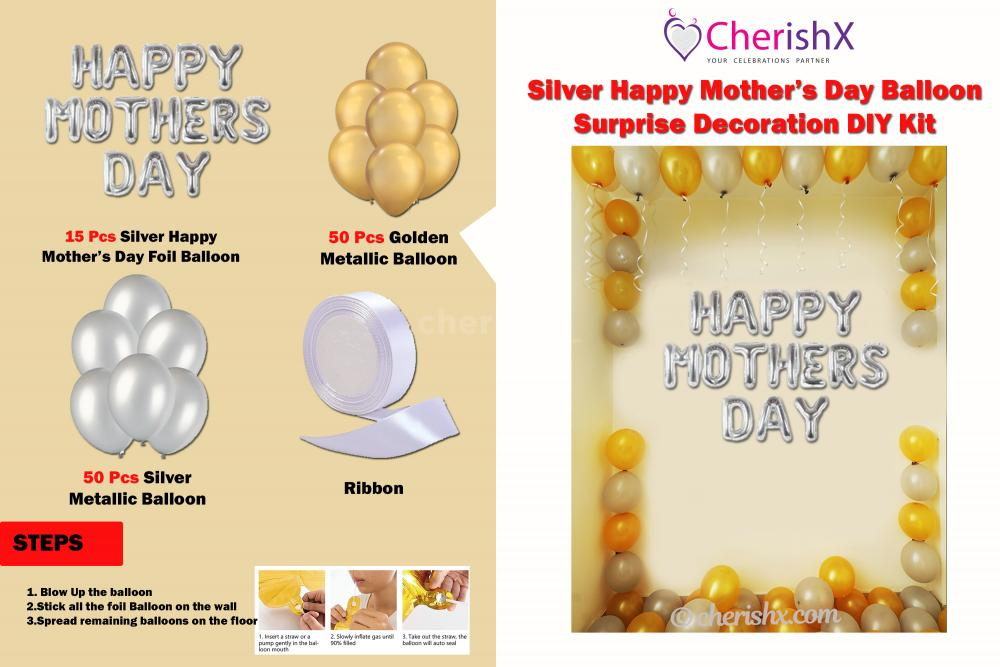 DIY Silver Happy Mother's Day Balloon Surprise Decoration Kit