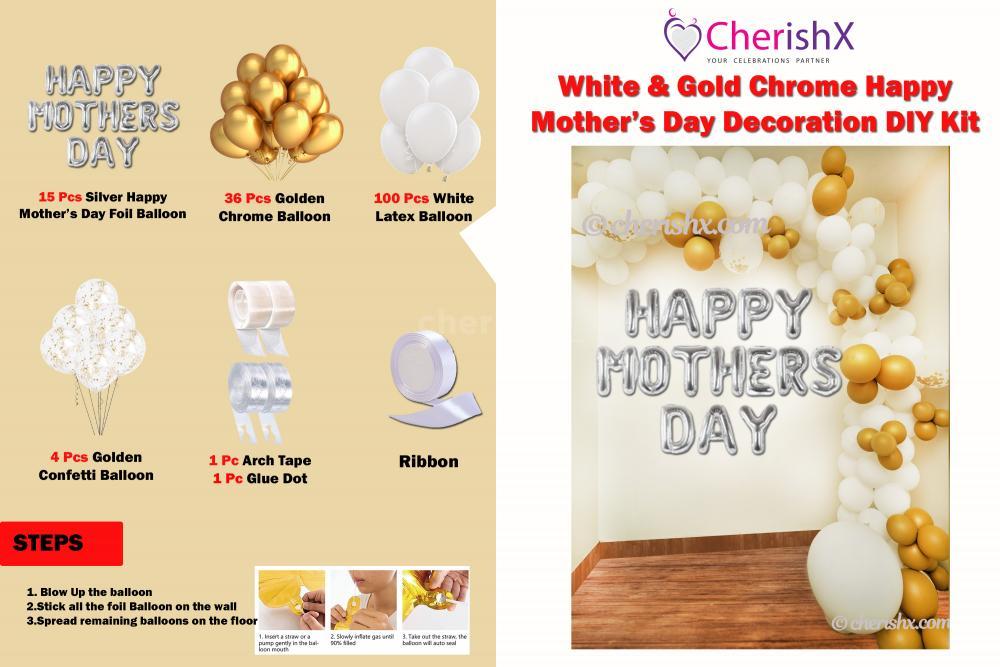 DIY White & Gold Chrome Happy Mother's Day Balloon Decoration Kit