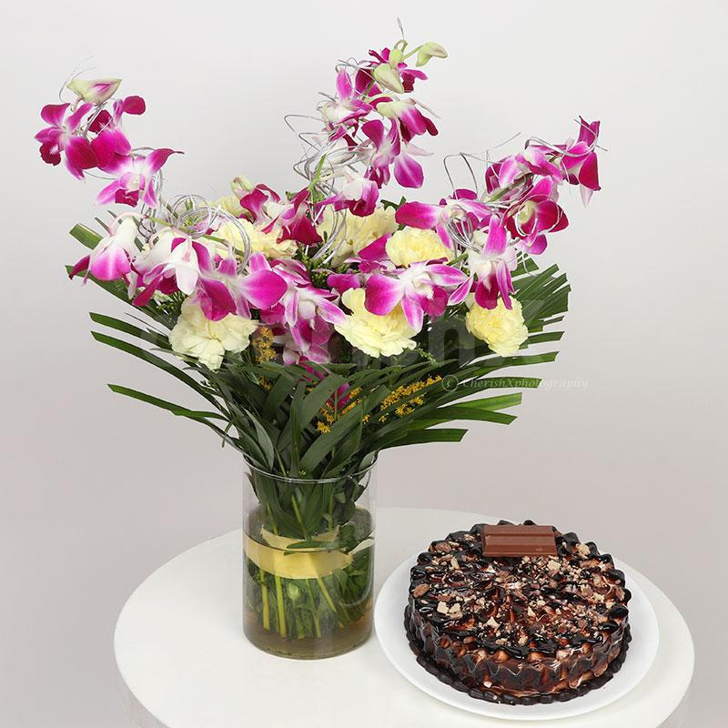 Orchids Carnations Bouquet N Cake Combo