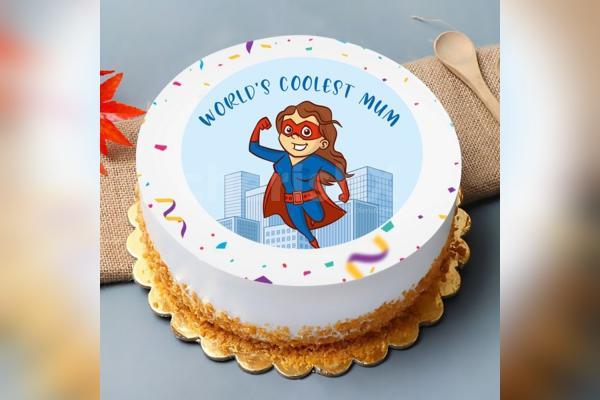 """World's Coolest Mom"" Photo Cake"