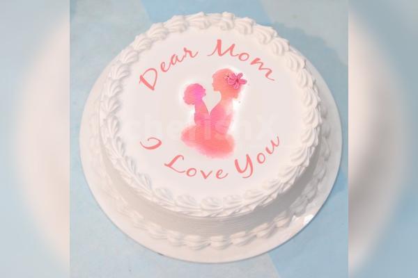 """I love You Mom"" Photo Cake"