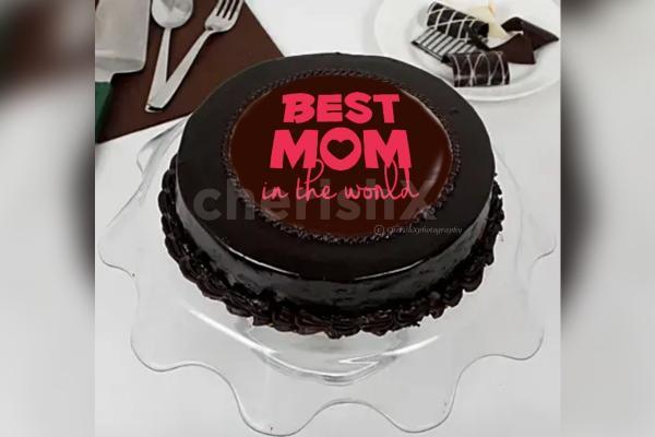 Mother's Day Chocolate Truffle Photo Cake