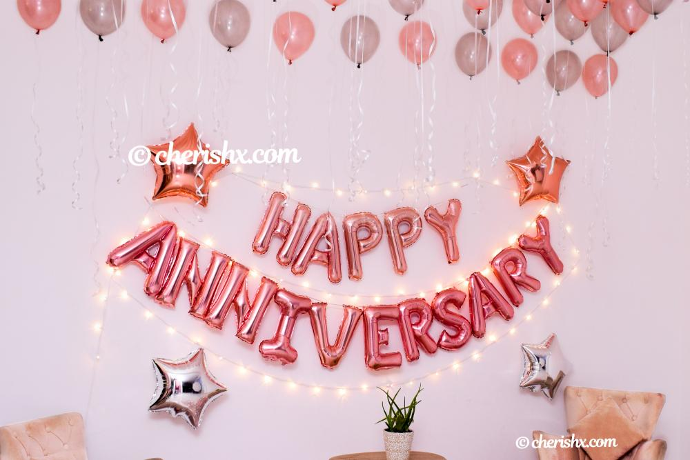 Whether it's your 1st or 25th anniversary, celebrate it with CherishX's Happy Anniversary Rose Gold Decoration!