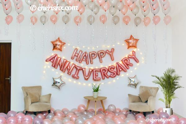Happy Anniversary Rose Gold Surprise Decor