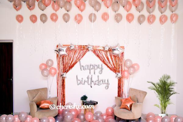 Happy Birthday Rose Gold Surprise Decor