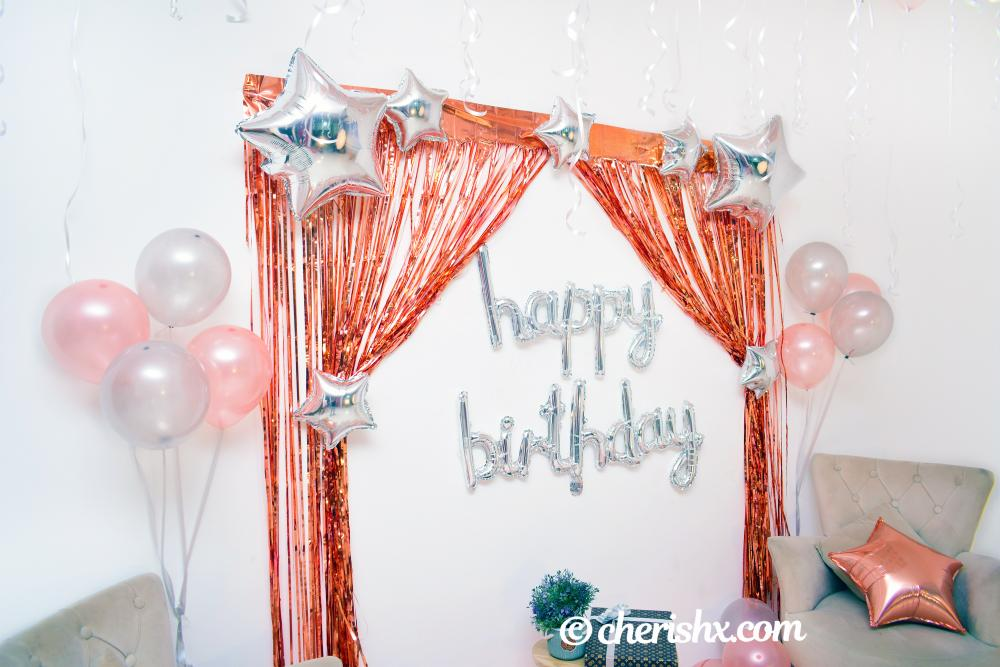 Light up your close one's heart on birthday by surprising them with CherishX's Happy Birthday Rose Gold Surprise Decor!