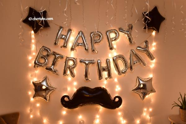 LED Lights & Big Happy Birthday Silver Foil Balloons Included