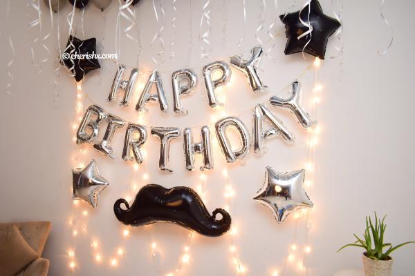 Blue & Silver Themed Happy Birthday Decor