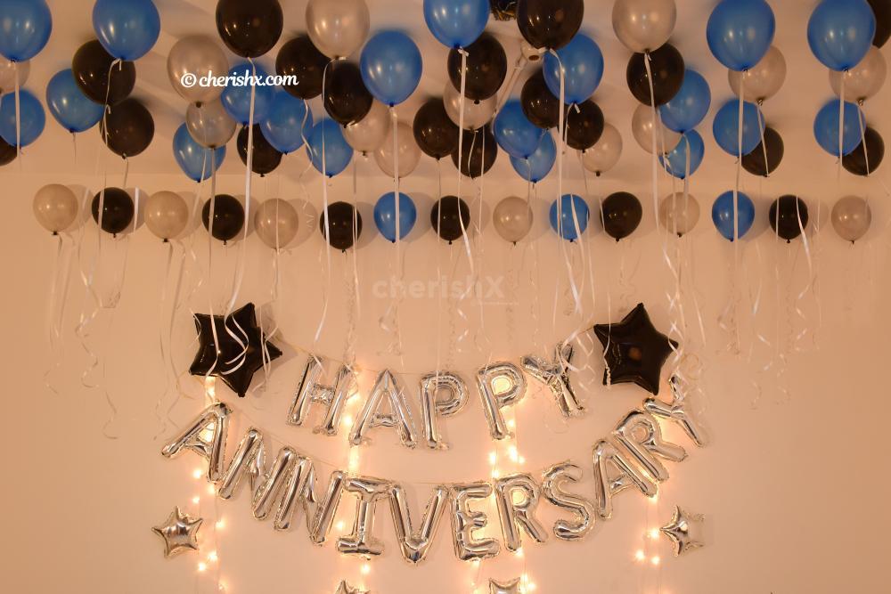 Blue & Silver Themed Anniversary Decor