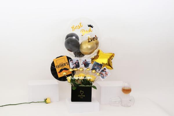 """Wish your Father a """"Happy Father's Day"""" with this Yellow Roses and chocolate filled photobucket!"""