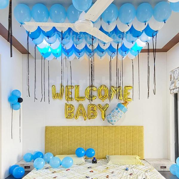 A welcome baby decor curated with shades of blue colour balloons!