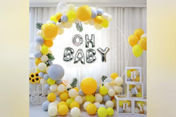 Gold & Yellow Ring Baby Shower Decor