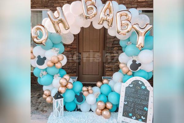 Gold and Blue Ring Baby Shower Decor
