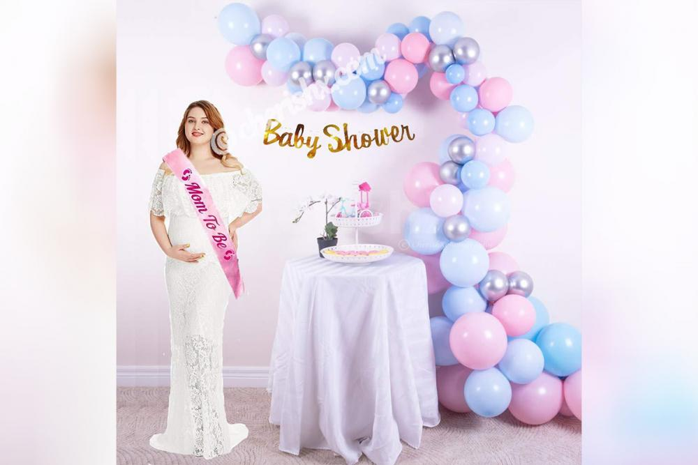 Book a soothing decor for a baby shower celebration.