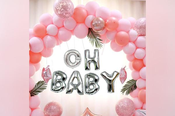 A elegant ring baby shower decor by CherishX available in Delhi NCR & Bangalore.