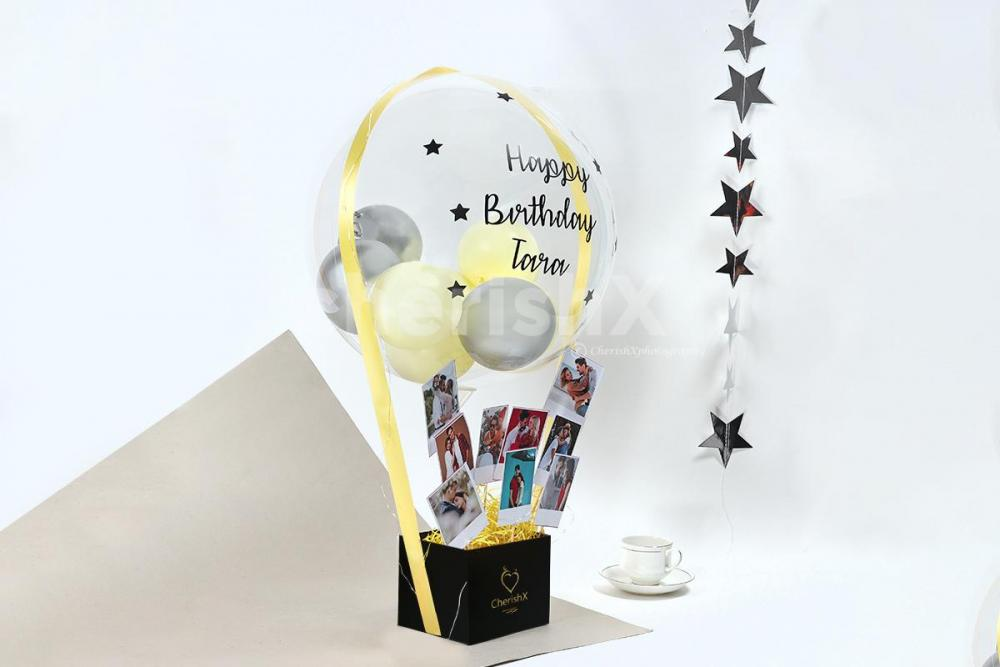 Personalised Balloon Bucket with Photos in Bangalore