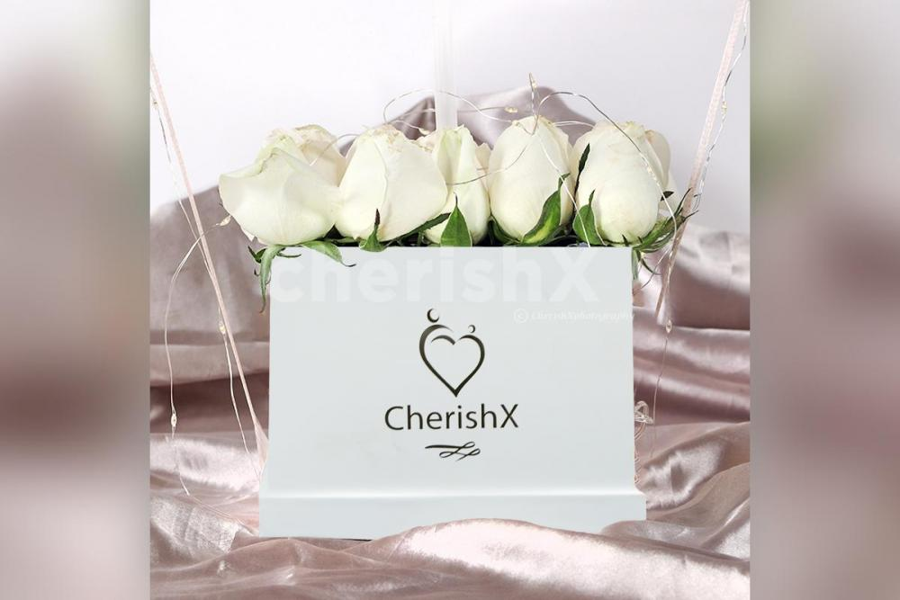 White Roses with Bubble Balloon Bucket delivered for Anniversary or Birthday Gift in Bangalore