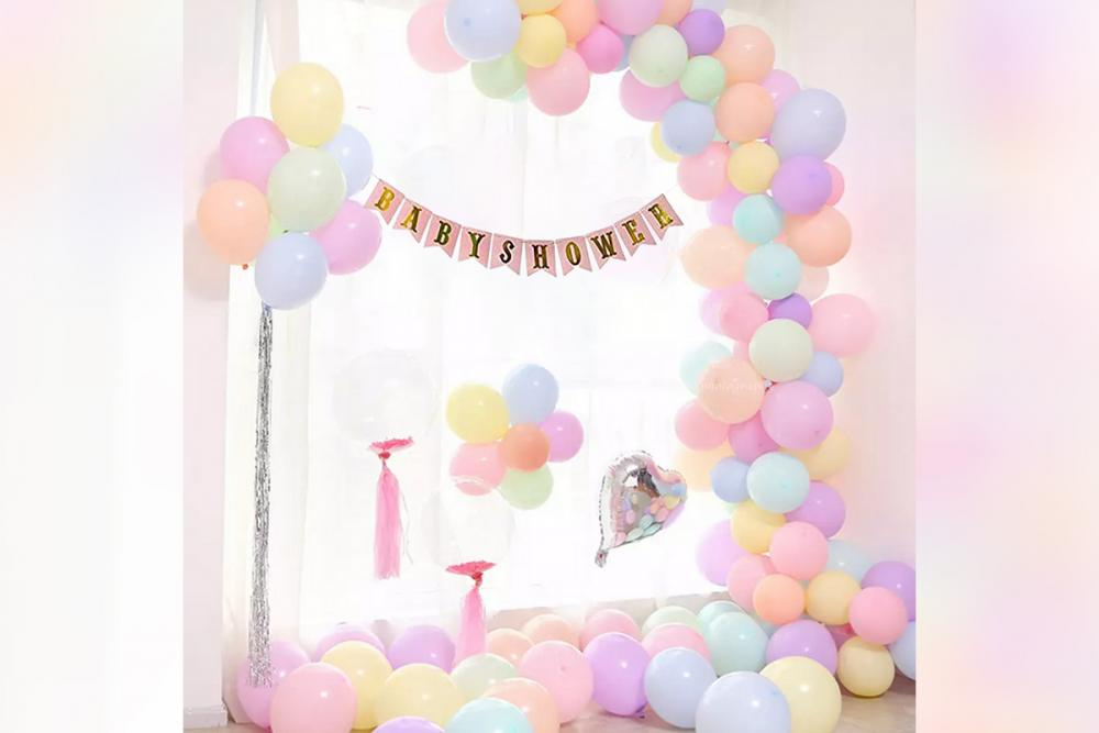 Multicoloured light pastel colour balloons decor for Baby shower by CherishX !