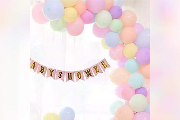 Enjoy the look of pretty colours surrounding your venue for a baby shower event!