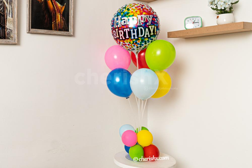 A colorful balloon bouquet stand to make your empty corners attractive!
