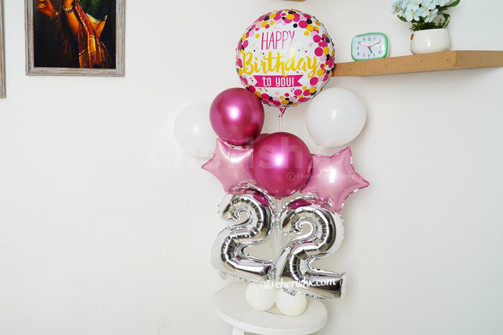 CherishX brings you this pretty Pink Chrome Number Balloon Stand.