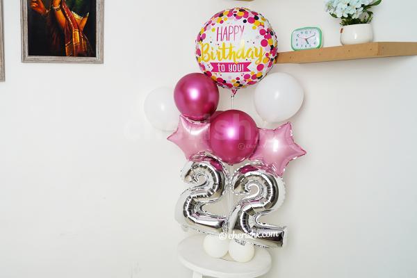 Pink Chrome Birthday Number Balloon Bouquet
